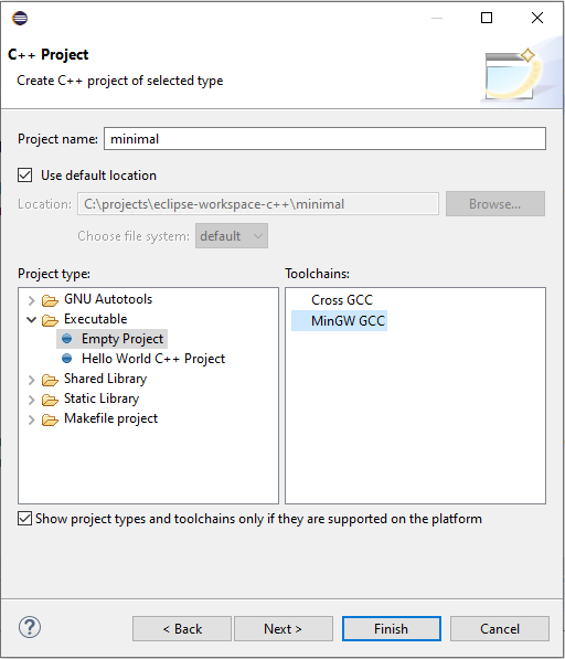 Project name, type and its toolchain on Eclipse CDT