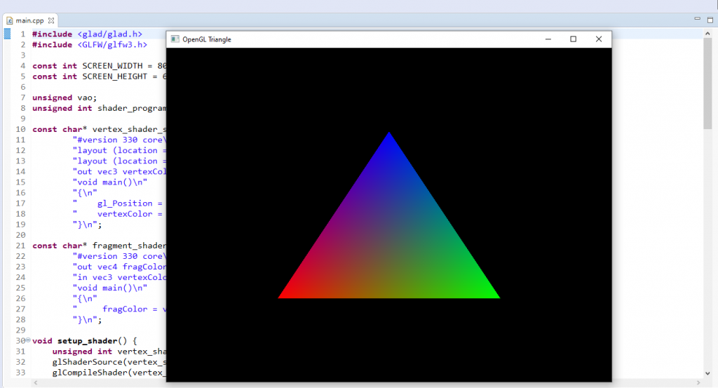 Triangle rendered with OpenGL